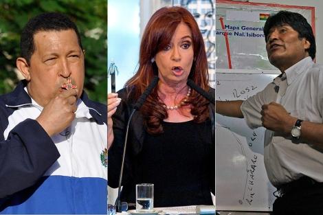 Hugo Chávez, Cristina Fernández y Evo Morales. | Agencias