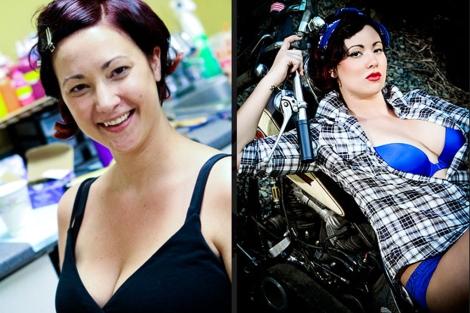 Imagen de una clienta, antes y después en la sesión. | LeBoudoir