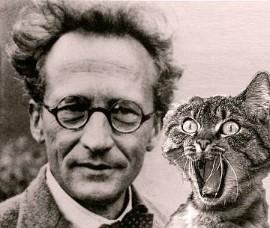 El f�sico Shrödinger con su gata