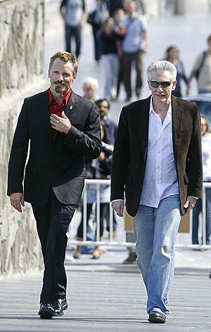 David Cronenberg (dcha.) y Viggo Mortensen (izqda.), en San Sebastin. (Foto: AFP)