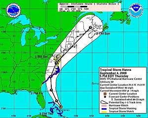 Infografía facilitada por el CNH del recorrido de la tormenta Hanna. (Foto: EFE)