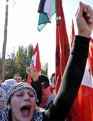 Manifestación en el Líbano contra el ataque israelí sobre la Franja de Gaza. (Foto: EFE)