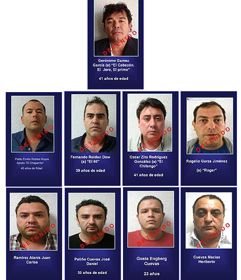 Imagen cedida por el Ministerio de Interior de México con los detenidos.   Efe