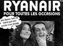 Bruni y Sarkozy, en un anuncio de Ryanair.