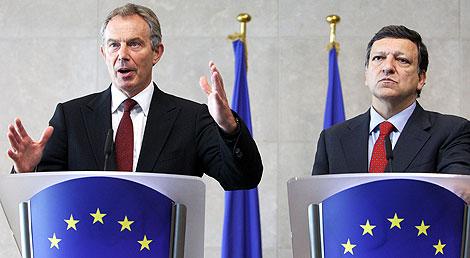 Tony Blair y José Manuel Durão Barroso. | AP