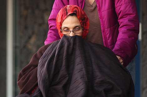 Aminatu Haidar, en su silla de ruedas. | AFP