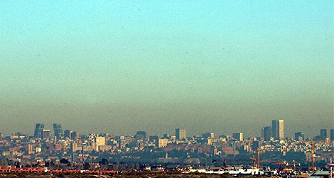 Vista panorámica de la boina de contaminación sobre Madrid. (Toledo)
