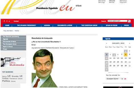 La imagen de Mr. Bean, en la p�gina de la presidencia. | Servimedia