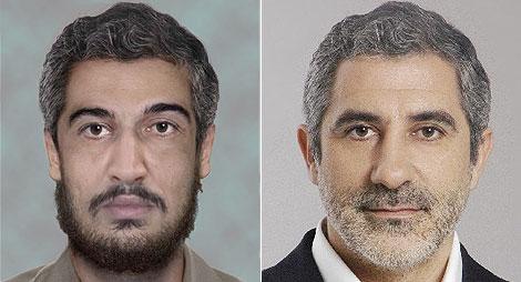 Atiyah Abd al-Rahman, en un retrato robot (izda.), y Gaspar Llamazares.