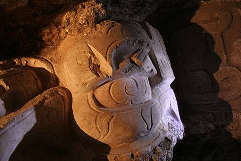 Detalle del mascarón maya. | Foto: UPV