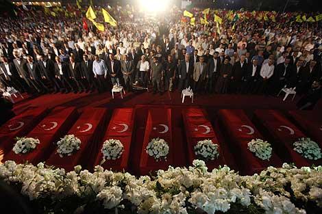 Seguidores de Hizbulá rinden homenaje a nueve ataúdes que  simbolizan los muertos turcos. | Ap