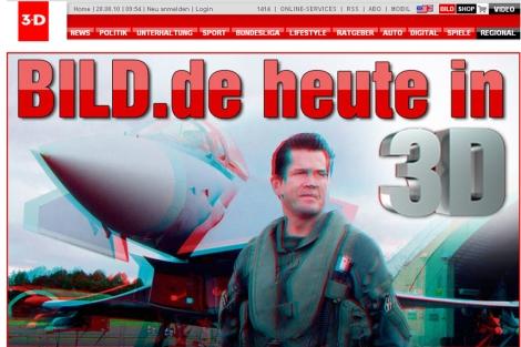 Imagen en 3D de la página web del diario alemán 'Bild'.