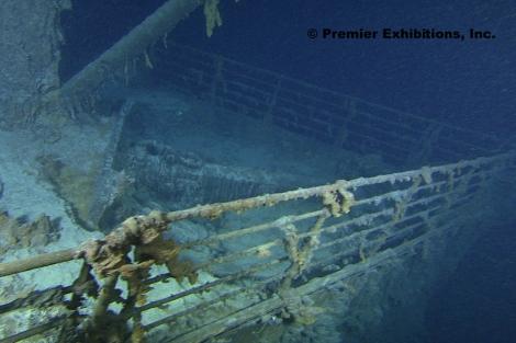 Imagen de la proa del Titanic, tomada durante la expedición
