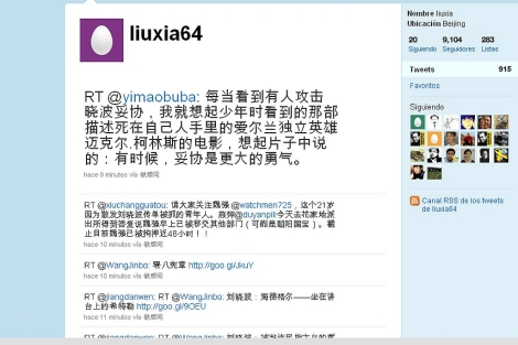 Imagen del Twitter de Liu Xia.