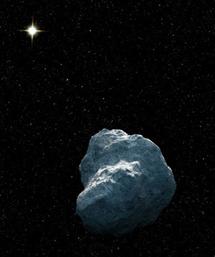 Dibujo de un TNO con el Sol al fondo | NASA, ESA, G. Bacon (STScI)