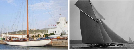 El Hispania (izqda.) amarrado en Mallorca y navegando a principios de siglo XX.