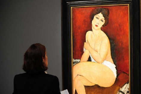 """La pintura """"Nu assis sur un divan (La Belle Romaine)"""", de Amedeo Modigliani (1884-1920)"""