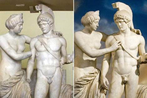 Venus y Marte, antes (izda.) y después de la restauración. | Reuters