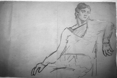 Dibujo 'Olga Accoudee' (Olga acodada) de Picasso. | AP