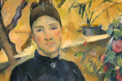 Un detalle de 'Madame Cèzanne en el conservatorio'.