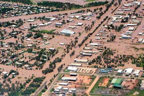 Vista aérea de las inundaciones en Emerald, Queensland (Australia). | Efe