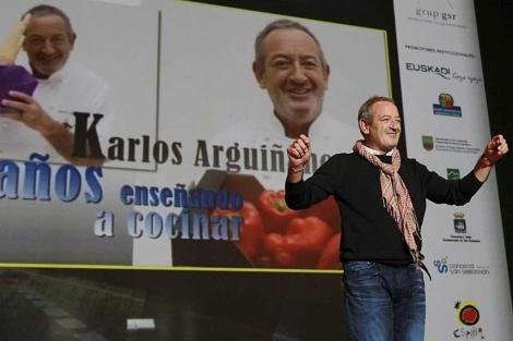 Karlos Arguiñano, durante el homenaje que recibió en el Kursaal donostiarra. | Justy