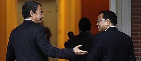 Zapatero, tras recibir a Li en la Moncloa. | Reuters