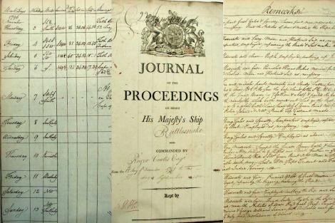 Portada (c) y varias páginas de cuadernos de bitácora históricos. | Dennis Wheeler.