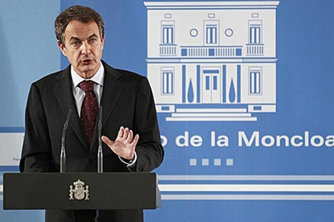 José Luis Rodríguez Zapatero en una intervención ante la prensa.