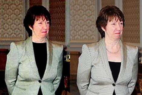 La baronesa Ashton, según la prensa iraní (izq.), y en la realidad (der.). | S. Z. Fazlioglu | AP