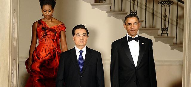 Obama y Hu Jintao, en la cena de gala en honor al mandatario chino. | Afp