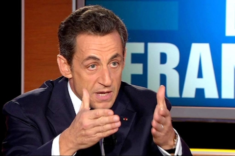 Nicolas Sarkozy, durante su entrevista en la cadena privada de televisión TF1. | Reuters