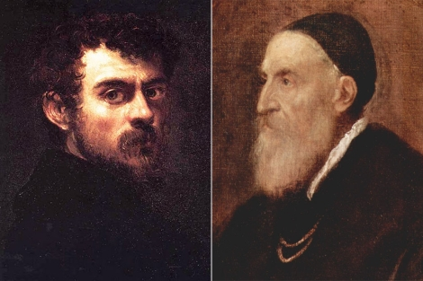 Autorretratos de Tintoretto y Tiziano.