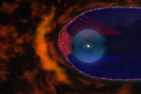 Recreación artística de las 'burbujas' magnéticas (en rojo). | NASA.