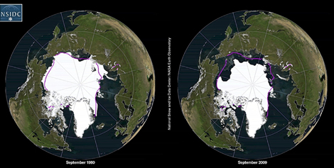 Comparación del hielo ártico en verano de 1980 y en verano de 2009. | NSIDC