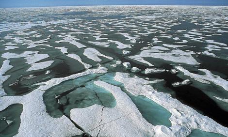 El casquete flotante del Ártico, en pleno deshielo.