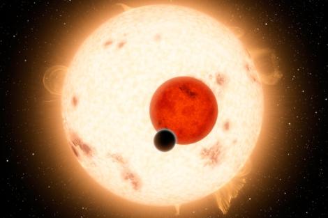 Recreación del planeta Kepler 16-b y sus dos estrellas. | NASA | JPL-CALTECH.