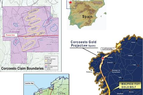 Mapas del proyecto aurífero de Corcoesto. | Edgewater