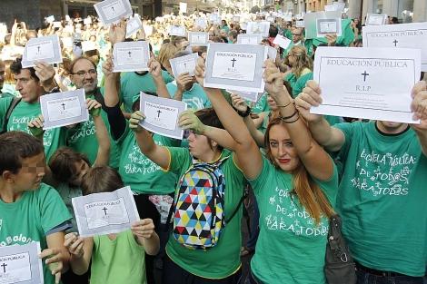 Protesta de profesores y alumnos, este domingo en Madrid. | Sergio González