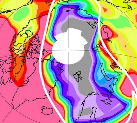 Niveles de ozono sobre el Polo Norte, en marzo de 2011. | Nature