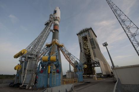 El cohete es trasladado a la plataforma de lanzamiento. | ESA.