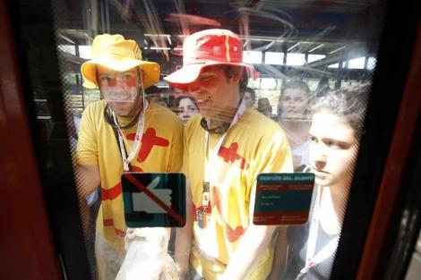 Peregrinos en un vagón durante la JMJ. (EM)