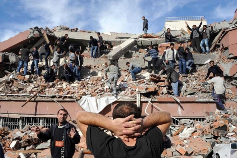 Un edificio destruido en Tabanli.| Afp