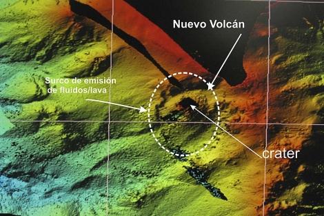 Imagen facilitada por el IEO del modelo digital del terreno del volcán.