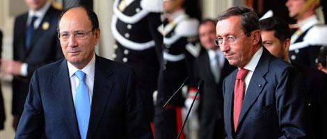 Schifani y Fini, tras reunirse con Giorgio Napolitano. | Efe