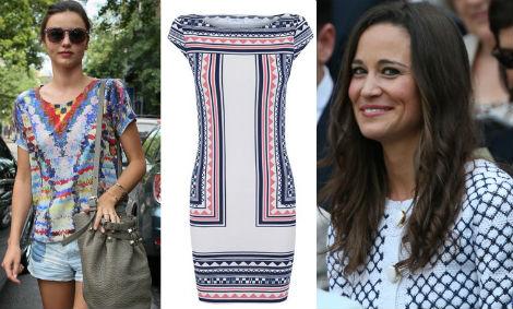 Geometría étnica para Miranda Kerr. Vestido (29,99 e), de Blanco. Pippa Middleton, de rombos.