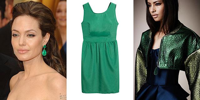 Angelina Jolie con sus famosas esmeraldas, vestido de Aggabarti y diseño de Burberry. MÁS FOTOS