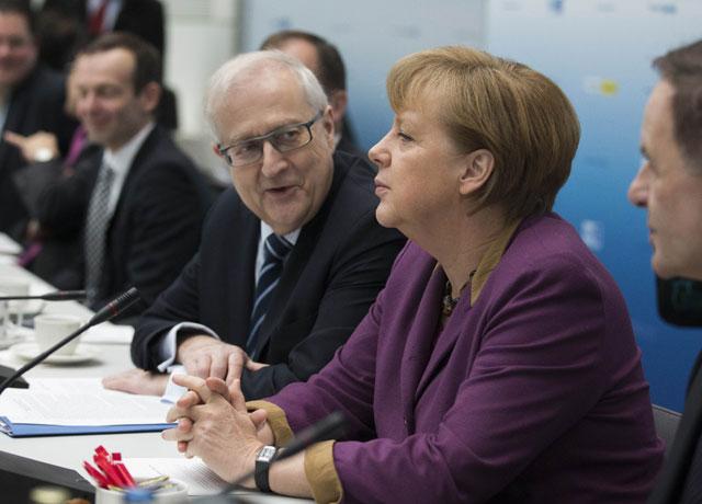 La canciller alemana, Angela Merkel, durante la reunión. | Reuters