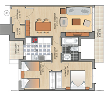 Plano de las viviendas de dos dormitorios.