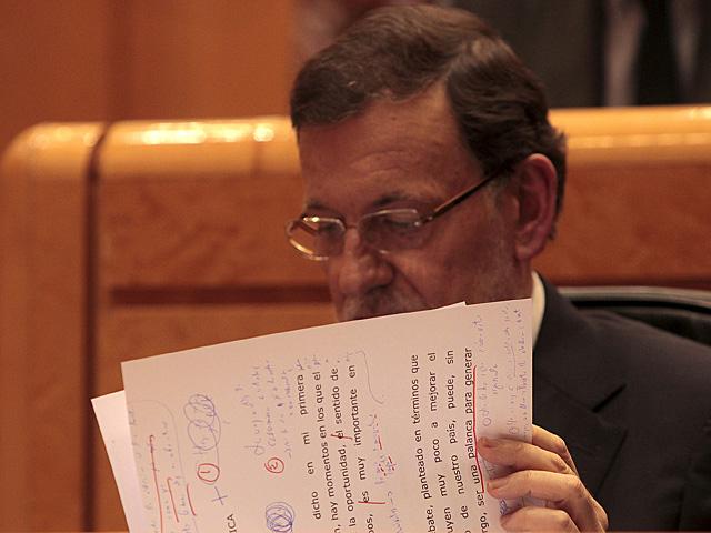 Mariano Rajoy, durante su comparecencia ante el Pleno del Congreso. | Antonio Heredia